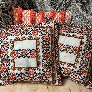 Boho southwestern embroidered pillows vintage?